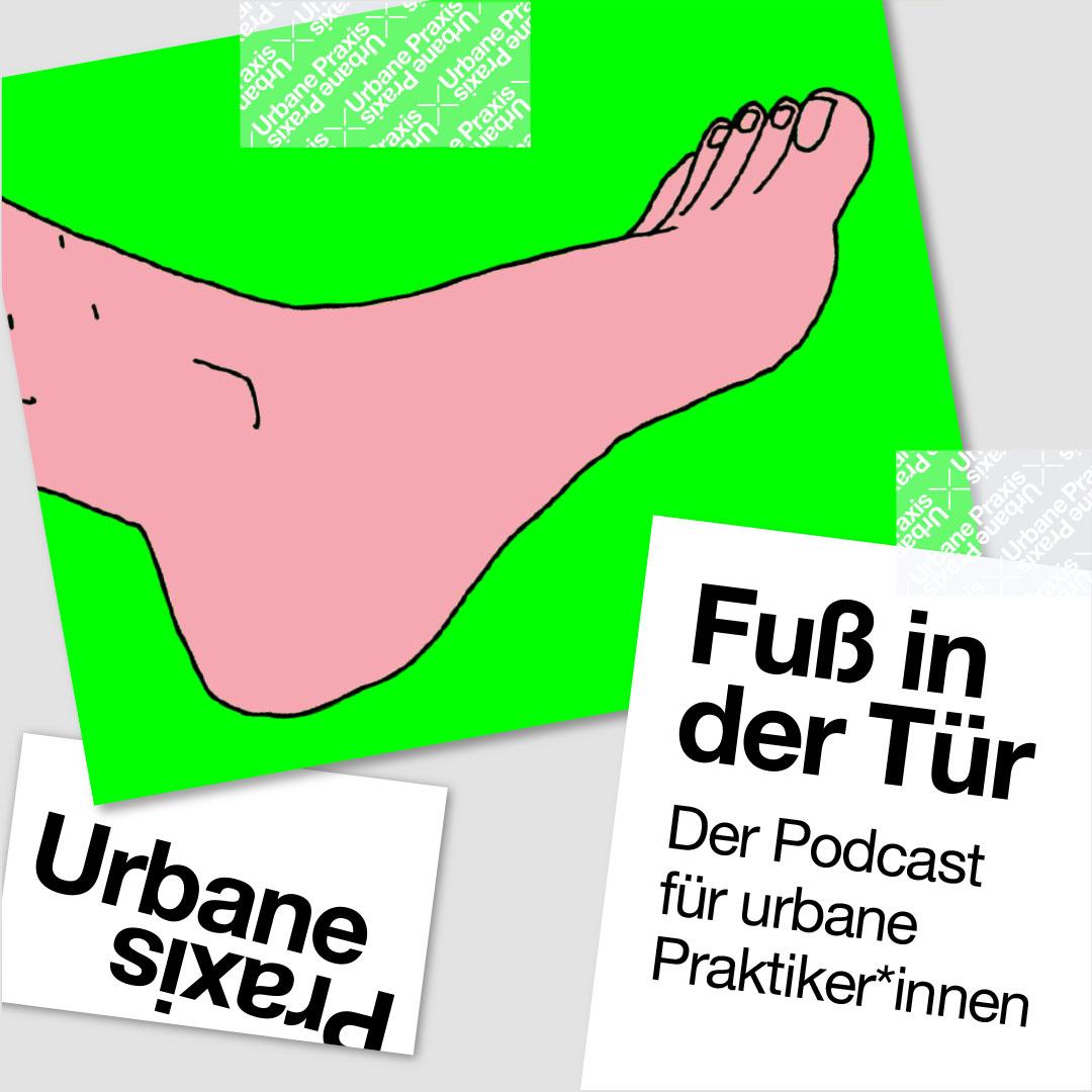 "Illustration of the podcast series ""Fuß in der Tür"""