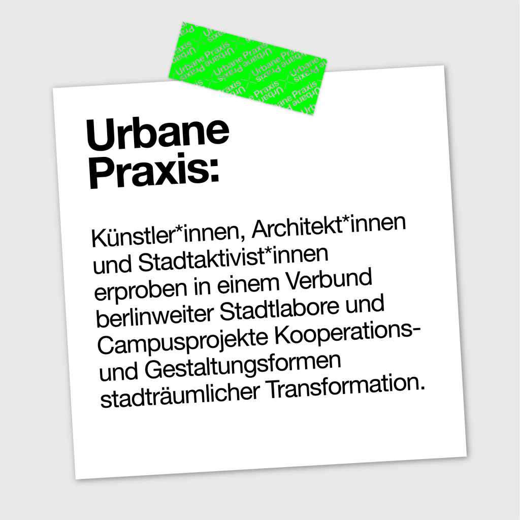 Zettel mit einer kurzen Definition der Urbane Praxis
