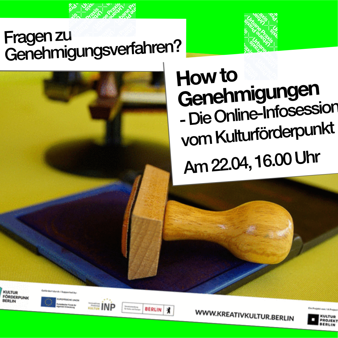 """Picture of a stamp and announcement of the event """"How to Genehmigungen"""""""