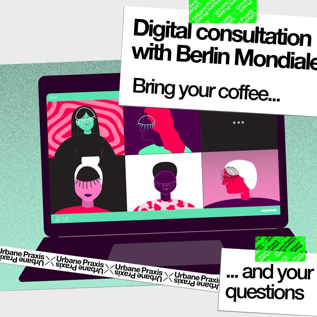 Illustration eines Bildschirms mit Kacheln und Gesichtern wie bei einem Videoanruf