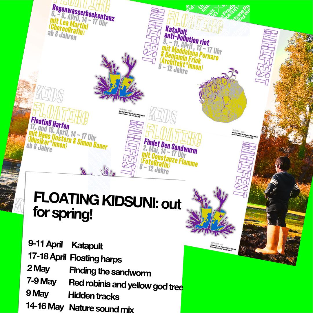 Plakat der Kidsuni bei der Floating: Das Programm, ein Kind mit Gummistiefeln in der Natur, eine Zeichnung von Gummistiefeln und eine Zeichnung von der wachsenden Planet.