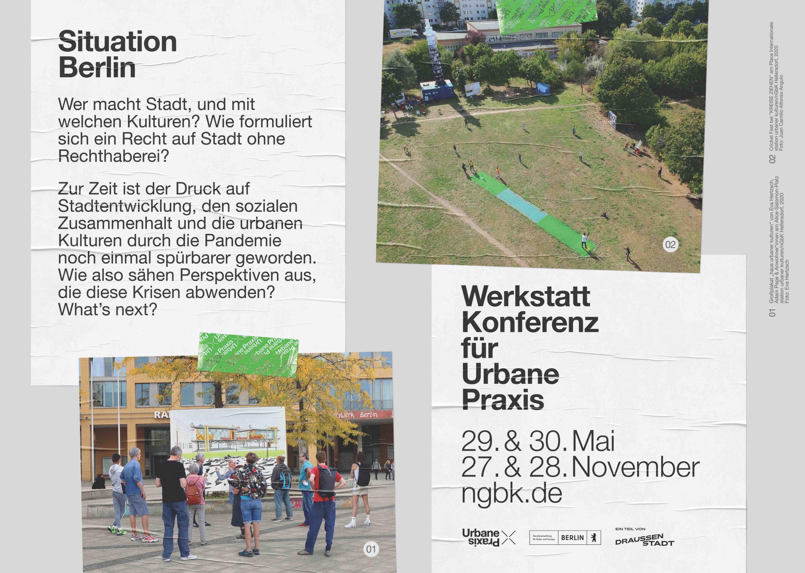Plakat, das ein Bild vom Entwurf des Hauses der Urbanen Praxis, ein Bild von Place Internationale und Texte über die Konferenz kombiniert