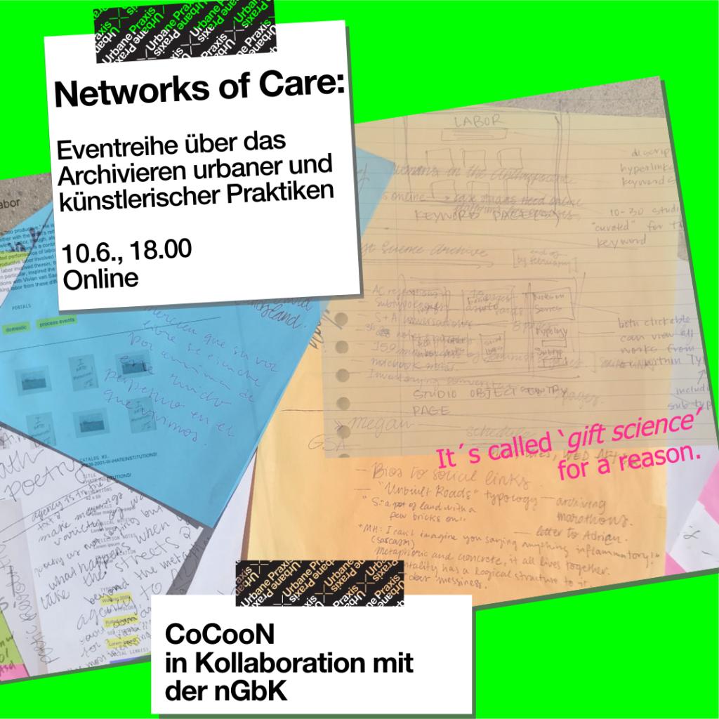 Collage aus Notizen und Skizzen zur Entwicklung von giftsciencearchive.net, zusammengestellt von A. Calderón und Megan Hoetger, Juni 2021