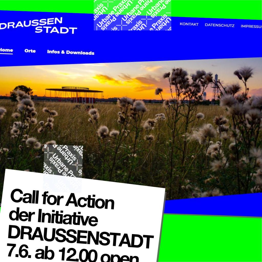 Ausschnitt der Homepage der Website vom Call for Action der Initiative DRAUSSENSTADT