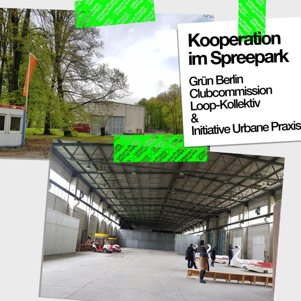 Collage von einem Bild von der Fassade der Werkhalle im Spreepark und von einem Bild des Innenraumes der Halle