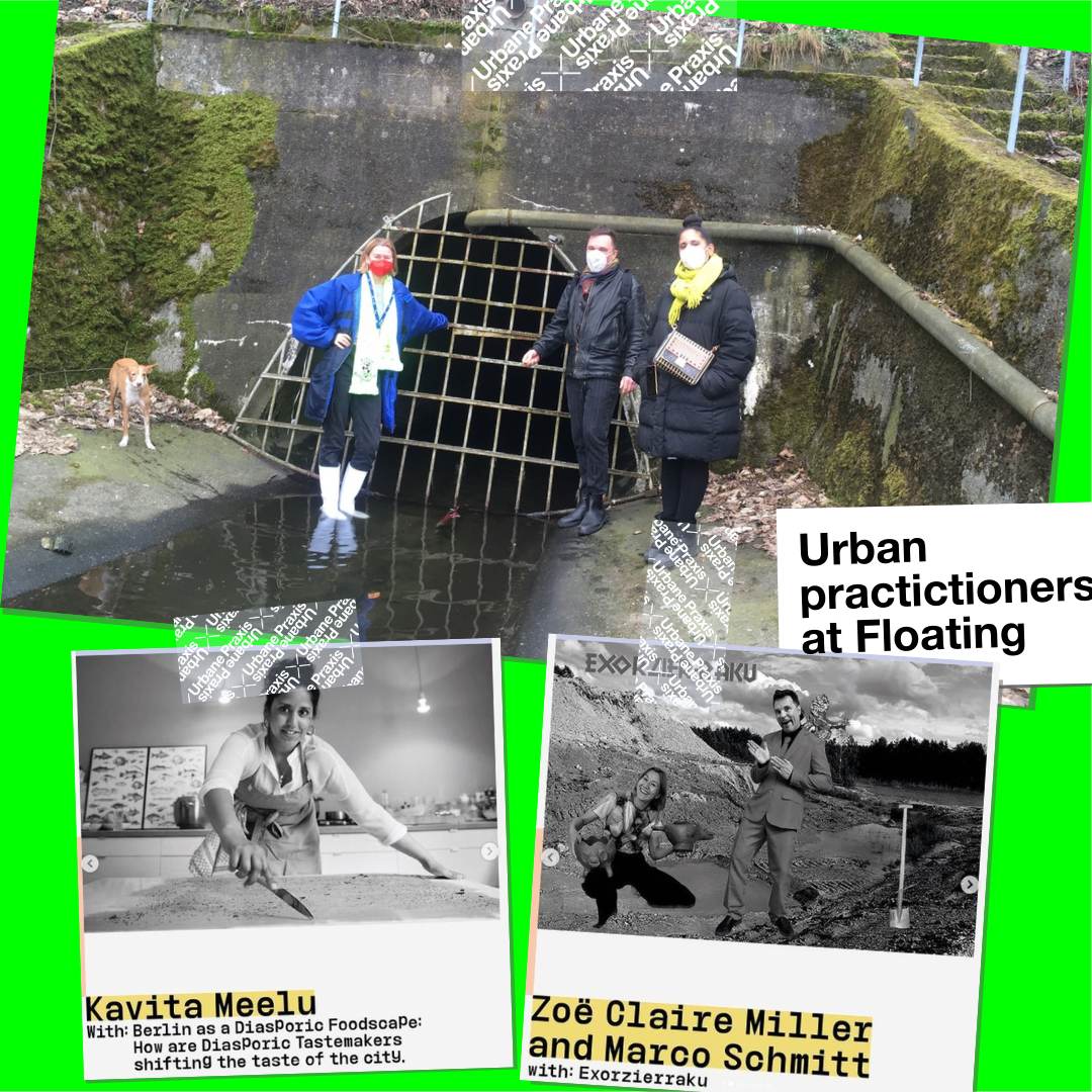 Zoë Claire Miller, Marco Schmitt und Kavita Meelu, the artists who have been selected in the frame of the open call for Urban Praxis Residency to work in 2021 at Floating University