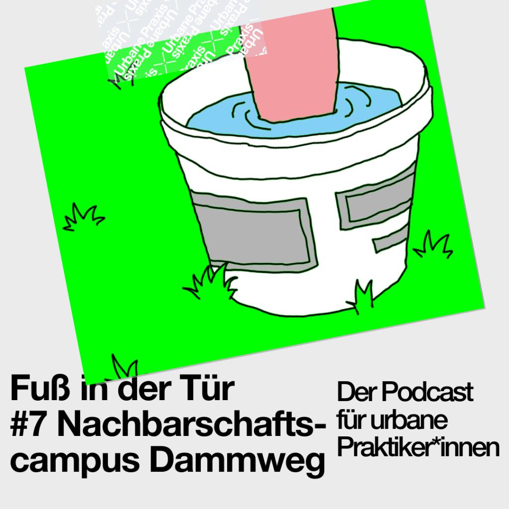Illustration eines Fußes in einem Eimer voll mit Wasser