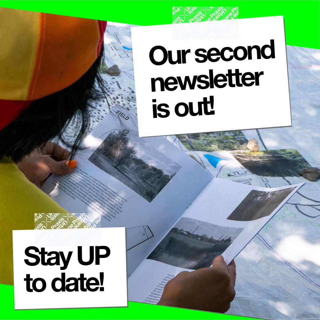 Eine Person liest eine Zeitschrift mit städtischen Bildern