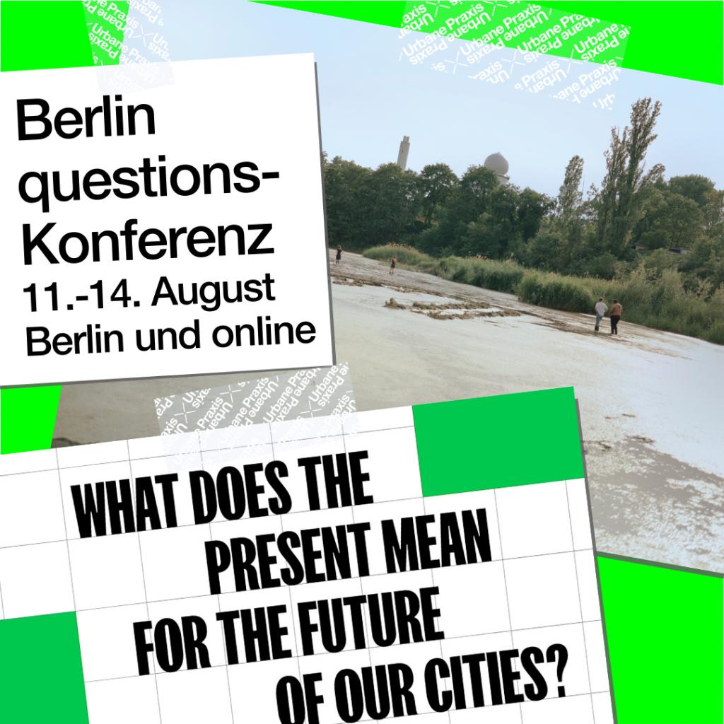 Ein Bild vom Gelände der Floating und ein Ausschnitt vom Video der Konferenz Berlin questions