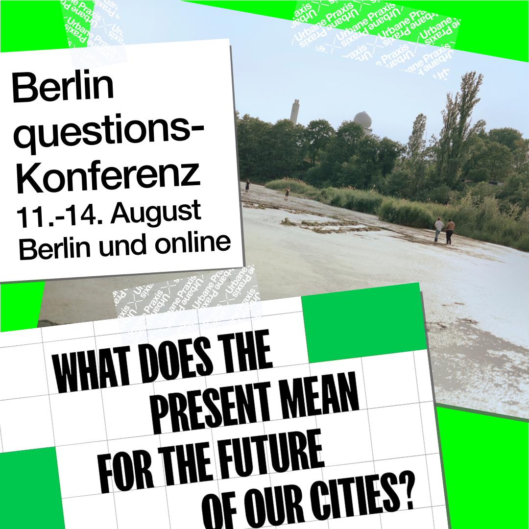 A picture of the area of the Floating and a frame from the video of the conference Berlin questions