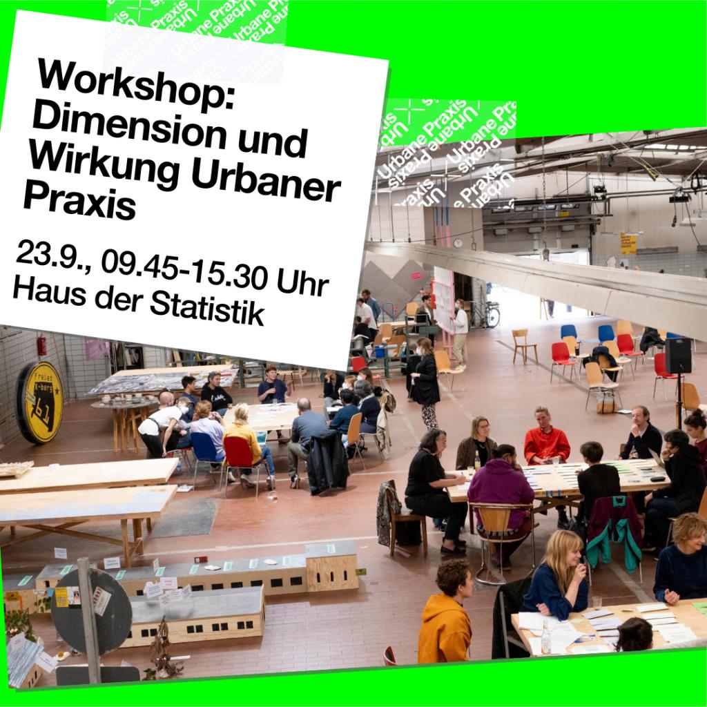 """Luftaufnahme der Arbeitstische an der Werkstatt """"Büro für urbane Querschnittsaufgaben"""" vom 18.8.2021"""