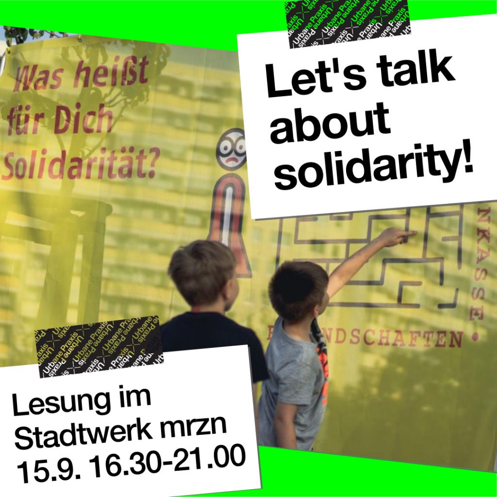 Foto von Kindern vor Banner; was heißt für dich Solidarität?