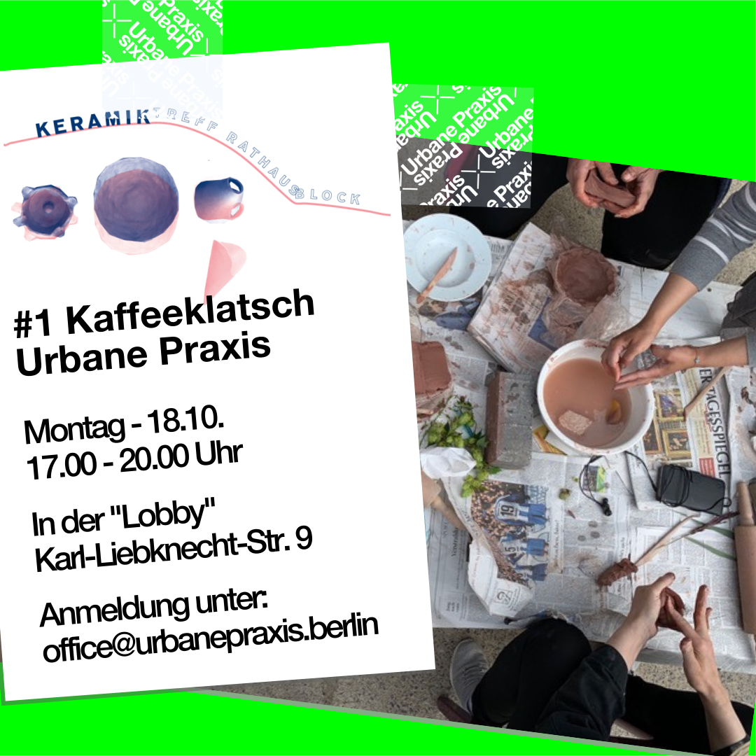 Post-it with KeramikTreff Rathausblock's logo and information about the coffee klatsch and an aerial view of a table, around which three people are making pottery