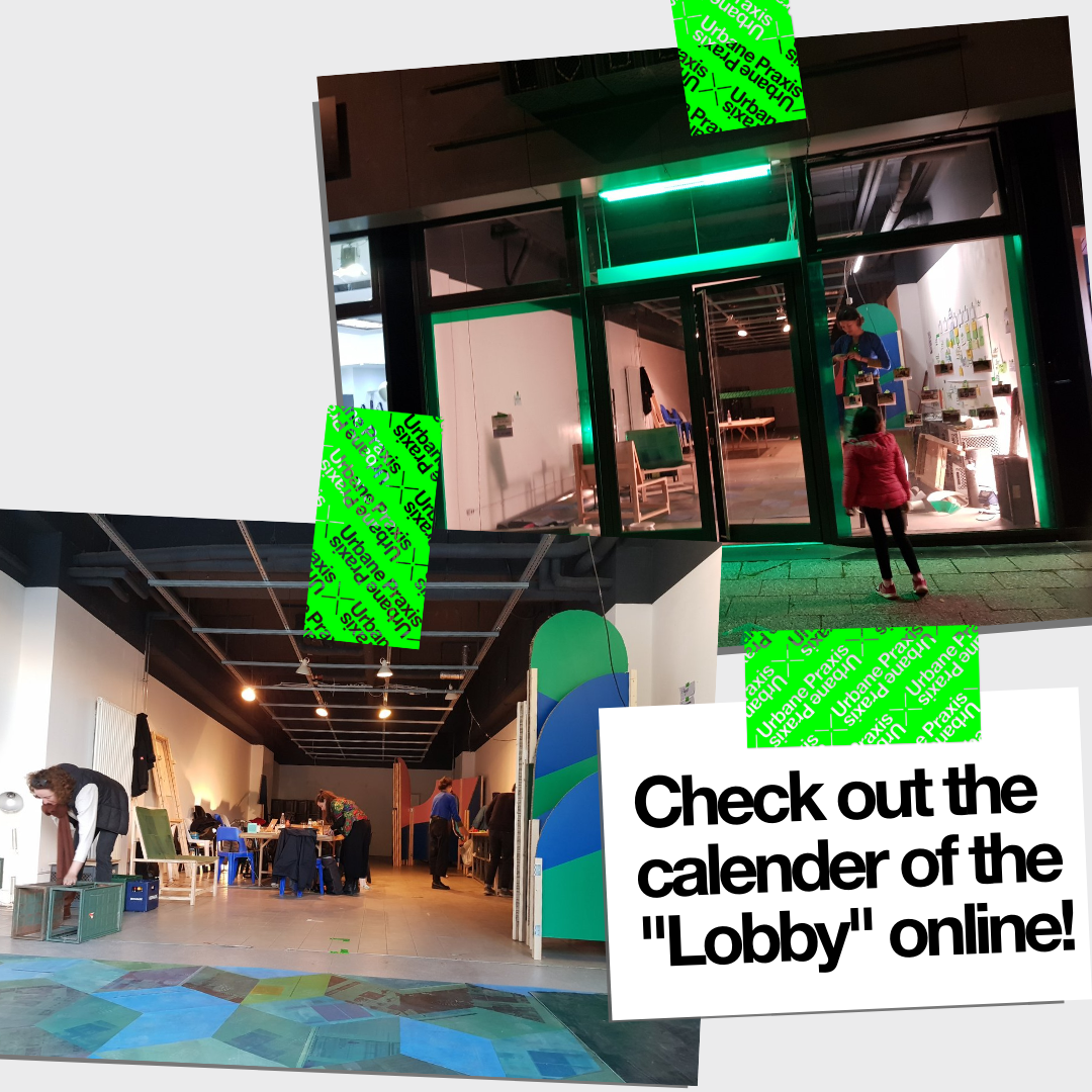 """Collage of a picture of the window of the """"Lobby"""" with green lighting and a picture of the interior of the """"Lobby"""" with the carpet and armchairs by CoCooN and room dividers by raumlabor"""