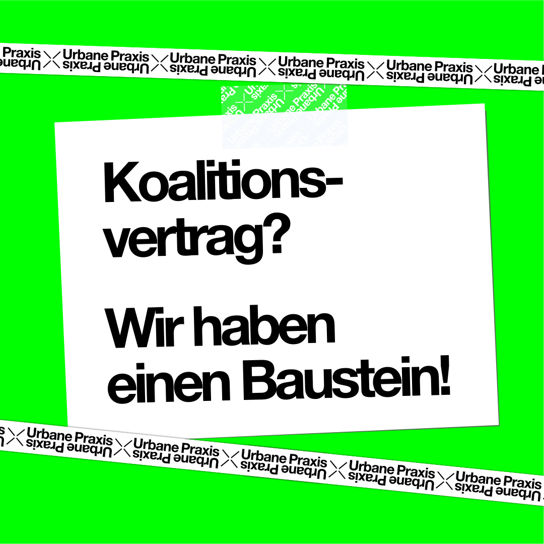 """Note on neon green background """"Coalition agreement? We have a building block!"""""""